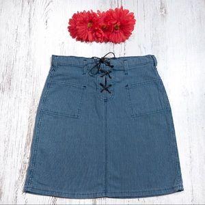 Tommy Hilfiger blue denim a-line pinstripe skirt